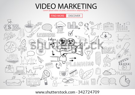Video Marketing concept with Doodle design style :internet connections, web analysis, www statistics .Modern style illustration for web banners, brochure and flyers. - stock photo