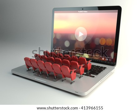 Video player app  or home cinema concept. Laptop and rows of cinema seats, 3d illustration - stock photo