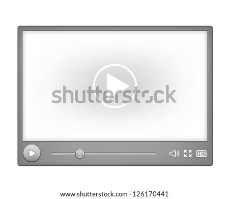 Video player for web element isolated on white background