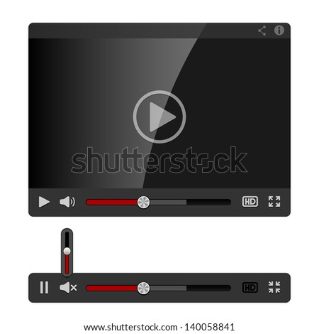 Video Player for Web isolated on white background. See also vector version