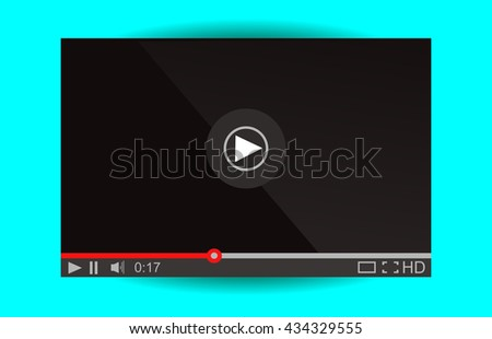 Video player for web. Media Player Interface. Minimalistic Design. Flat Style.Player MockUp - stock photo