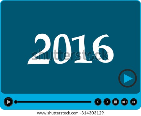 Video player for web with 2016 symbol, media player with new year concept - stock photo