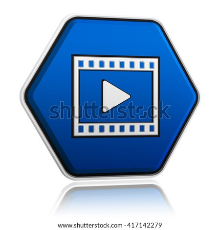 video player sign in 3d blue hexagon banner like button, multimedia presentation concept - stock photo