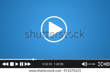 Video player template for web, movie screen  illustration. Modern flat video player interface. Raster version - stock photo