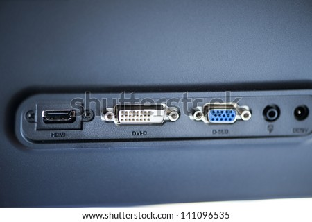 video ports - DVI-D - back of the monitor - stock photo