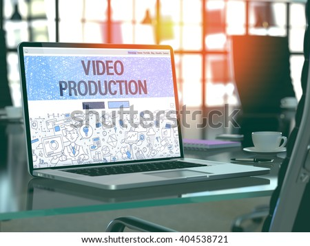 Video Production Concept. Closeup Landing Page on Laptop Screen in Doodle Design Style. On Background of Comfortable Working Place in Modern Office. Blurred, Toned Image. 3D Render. - stock photo