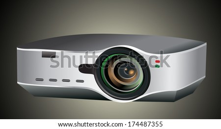 Video projector for work presentation or home cinema entertainment - stock photo