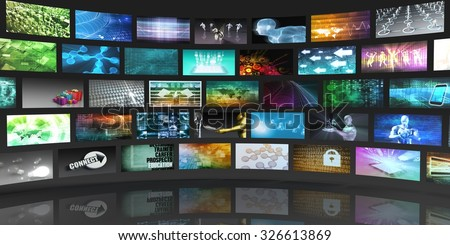 Video Screens Abstract Background for Multimedia Concept - stock photo