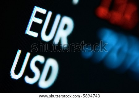 Video shows Exchange Rates for Usd / Euro currencies; blurred - stock photo