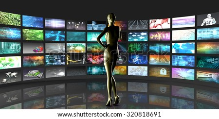 Video Streaming as Technology Concept with Lady Watching