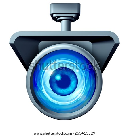Video surveillance and big brother is watching concept as a security camera monitoring the public with a large eye spying as a symbol for privacy rights issues isolated on a white background. - stock photo