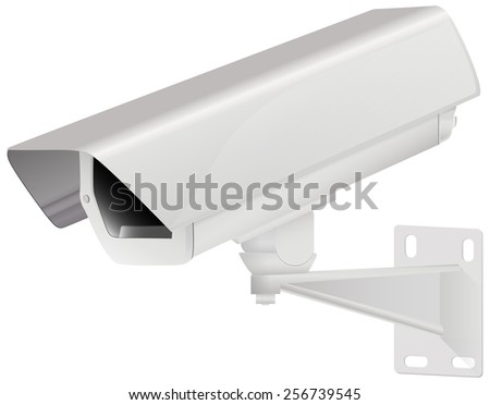 Video surveillance and CCTV security camera -  isolated on white background
