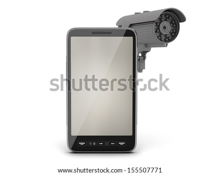 Video surveillance camera and cell phone - stock photo