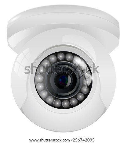 Video surveillance camera -  isolated on white background - stock photo