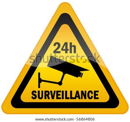 Video surveillance sign - stock photo