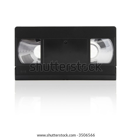 video tape on a white background with mirror shadow - stock photo