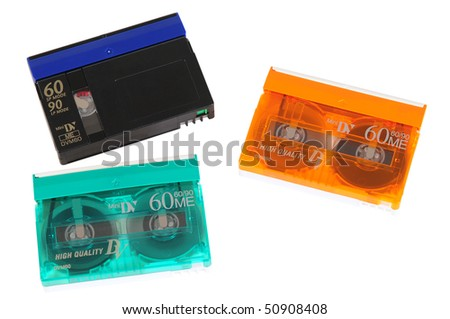 Video tapes. Isolated - stock photo