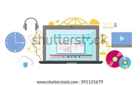 Video tutorial icon flat design style. Online education, information web from laptop, study internet, e-learning and knowledge, webinar and training, communication learning illustration - stock photo