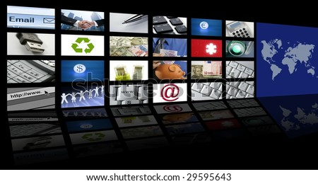 video tv screen technology and communication background [Photo Illustration]