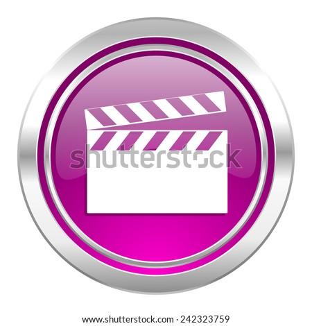 video violet icon cinema sign  - stock photo