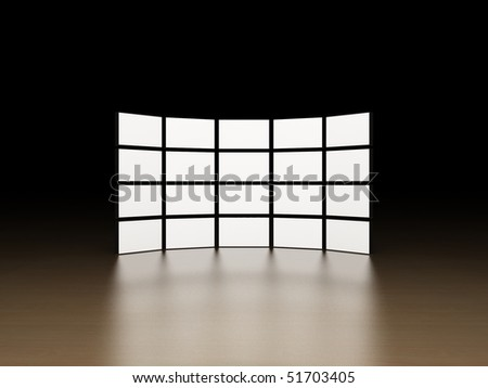 Video wall on wooden surface - stock photo
