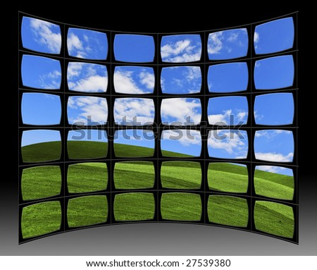 Video wall with Landscape - stock photo