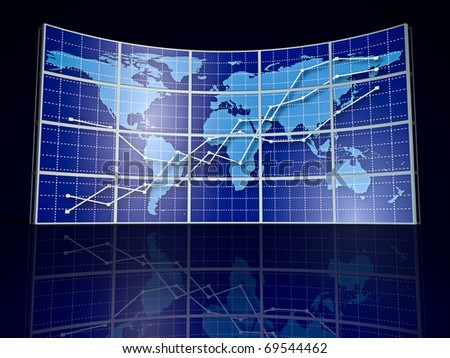 video wall with world map and abstract graph - stock photo