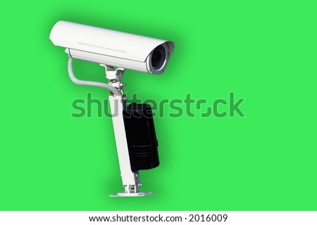 Videocamera for supervision with the detector of movement - stock photo