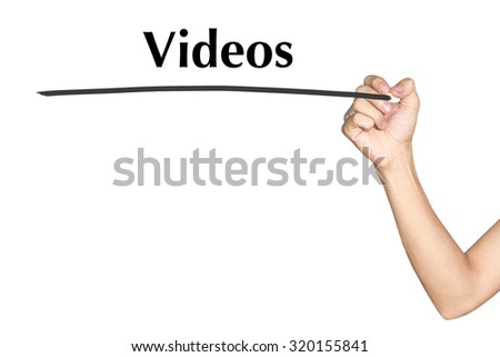 Videos Man hand writing virtual screen text on white background - stock photo