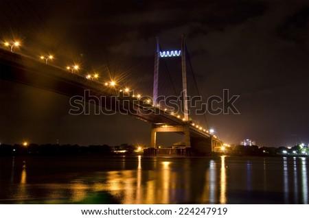 Vidyasagar Setu in Kolkata, known as 2nd Hooghly Bridge - stock photo