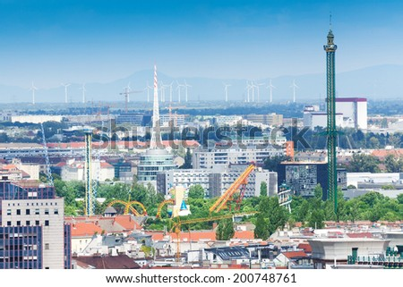 Vienna adventure park view from the bell tower - stock photo