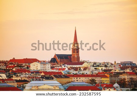 Vienna aerial view in the evening at sunset - stock photo
