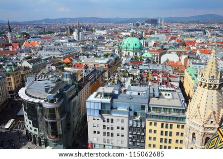 Vienna, Austria - aerial view of the Old Town, a UNESCO World Heritage Site. - stock photo
