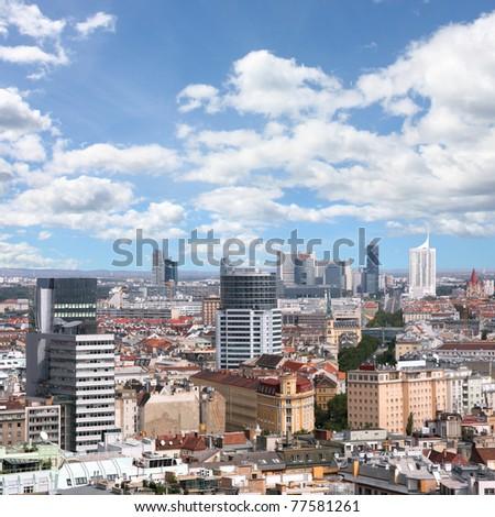 Vienna, Austria. Aerial view with the skyscraper district. Square composition. - stock photo