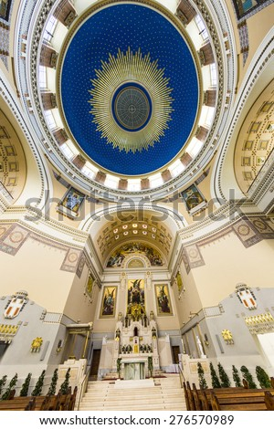 VIENNA, AUSTRIA - APR 26, 2015: inside the chappel Karl Borromaeus of the central cemetery in Vienna, Austria. Architect Max Hegele finalized the church in 1911. - stock photo