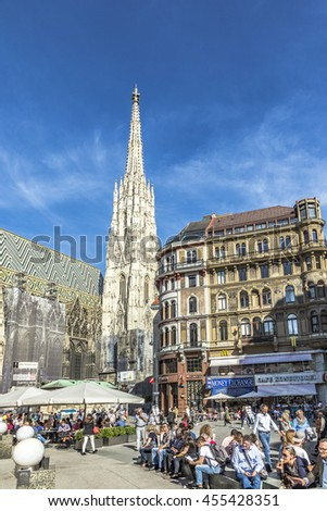 VIENNA, AUSTRIA - APR 27, 2015:  people visit  Saint Stephen's Cathedral (Stephansdom). It is the mother church of the Roman Catholic Archdiocese of Vienna and the seat of the Archbishop of Vienna.