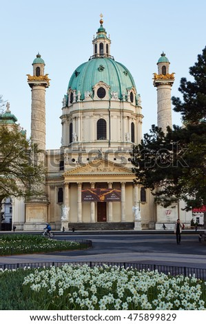 VIENNA/AUSTRIA - Apr 12,2012 : St. Charles's Church is one of the landmark in Vienna