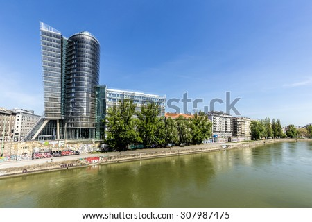 VIENNA, AUSTRIA - APR 25 2015: Uniqa tower in Viennaby architect Heinz Neumann. In 2006 the design won a Bauherren award.