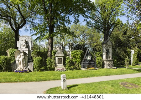VIENNA, AUSTRIA - APR 26, 2015: view to  Vienna Central Cemetery, the place where famous austrian people are burried. The cemetery was inaugurated in 1874. - stock photo