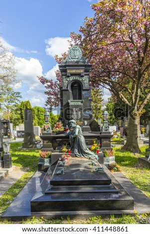 VIENNA, AUSTRIA - APR 26, 2015: view to  Vienna Central Cemetery, the place where famous austrian people are burried like Strauss, Beethoven and Mozart. The cemetery was inaugurated in 1874. - stock photo