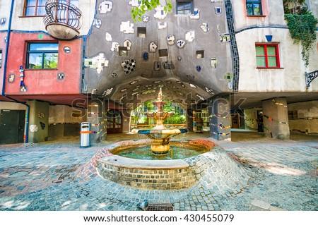 VIENNA, AUSTRIA - APRIL 22, 2016:  Ceramic Fountain near Hundertwasser House - stock photo