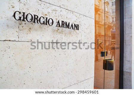 Vienna, Austria - April 5, 2015: Entrance of a Giorgio Armani shop in Vienna, Austria. Shot taken on April 5th, 2015 - stock photo