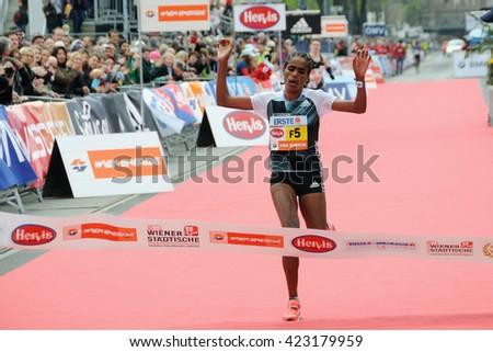 VIENNA, AUSTRIA - APRIL 10, 2016: Genemo Shuko wins the Vienna City Marathon , April 10, 2016 in Vienna, Austria. - stock photo