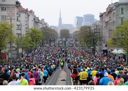 VIENNA, AUSTRIA - APRIL 10, 2016: Group of runners runs the Vienna City Marathon , April 10, 2016 in Vienna, Austria.