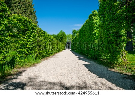 VIENNA, AUSTRIA - APRIL 23, 2016: Perspective view of Garden at Schonbrunn Palace - stock photo