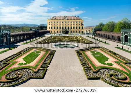 VIENNA, AUSTRIA - APRIL 15, 2015: Royal palace in Vienna during sunny spring day prince garden view - stock photo