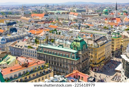 VIENNA, AUSTRIA - AUGUST 02, 2014: Aerial view of Vienna as seen from the Saint Stephan (Stephansdom) cathedral  - stock photo