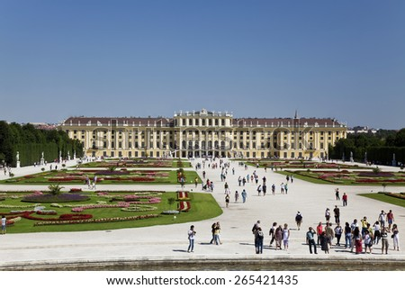 VIENNA, AUSTRIA - AUGUST 15, 2012:Beautiful view of famous Schonbrunn Palace with Great Parterre garden in Vienna, Austria - stock photo