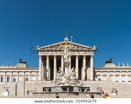 VIENNA, AUSTRIA - AUGUST 06, 2015: Built In 1883 The Austrian Parliament Building (Parlamentsgebaude) in Vienna is where the two houses of the Austrian Parliament conduct their sessions.