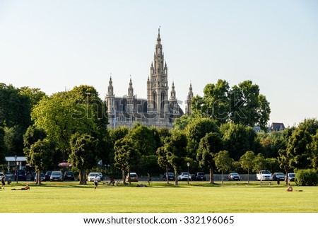 VIENNA, AUSTRIA - AUGUST 20, 2015: Built In 1883 The Rathaus (Town Hall) is a building in Vienna which serves as the seat both of the mayor and city council of the city of Vienna. - stock photo